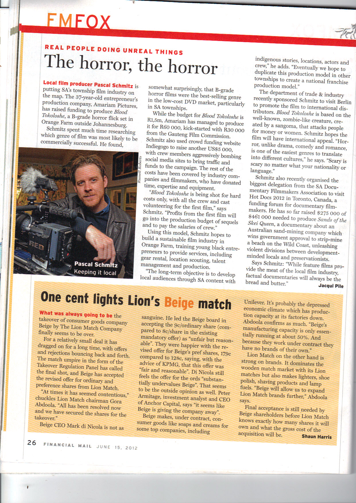Article on the producer Pascal Schmitz in the Financial Mail
